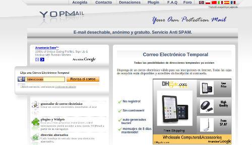 Yopmail para crear email temporales online - Bloguit.com