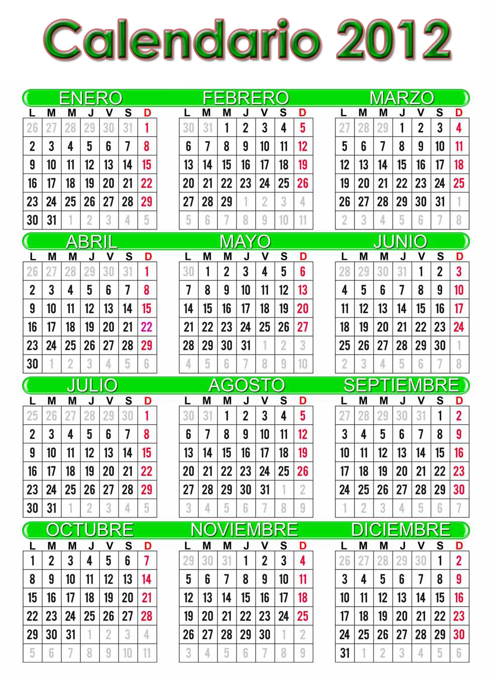calendario 2012 español grande imprimir 378x520 Ver Calendario 2012 ...