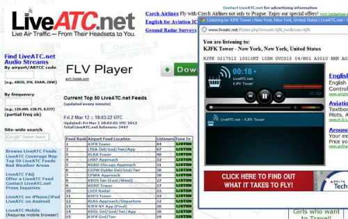 LiveATC LiveATC para escuchar torres de control de aeropuertos online