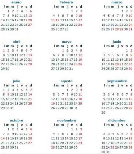 Calendario argentina 2013 453x520 Ver Calendario 2013 en Argentina con festivos (Para imprimir)
